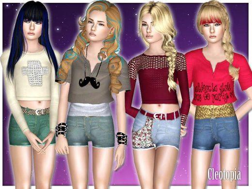 Набор женской одежды для Симс 3 от Cleotopia
