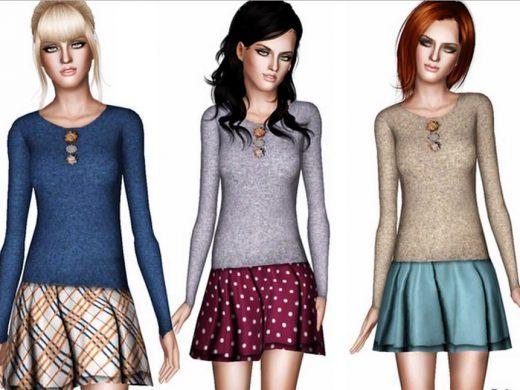 Женский пуловер для Симс 3