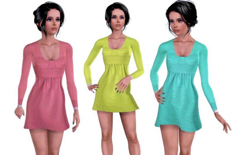 Веселое короткое платье для Симс 3