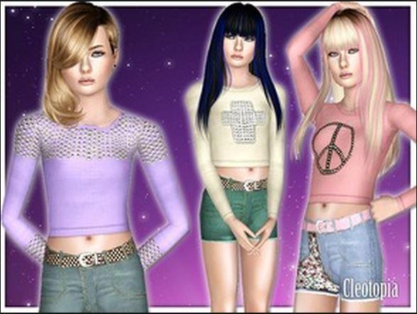 Набор женской одежды для Симс 3 от Cleotopia | Скриншот 5