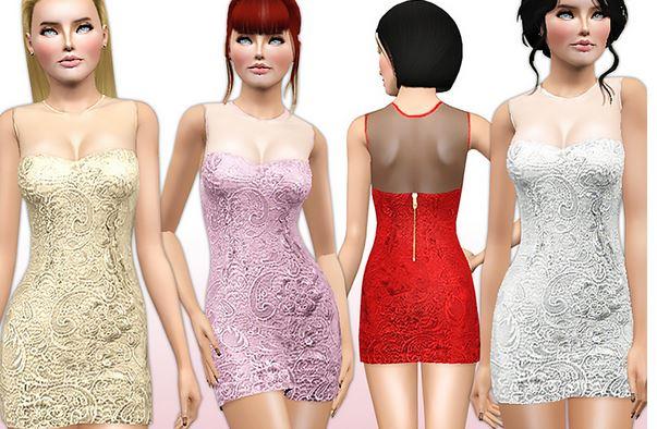 Скачать кружевное платье для Симс 3