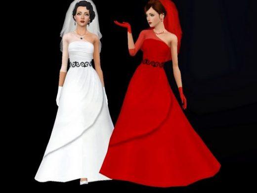 Элегантное и стильное свадебное платье для Симс 3
