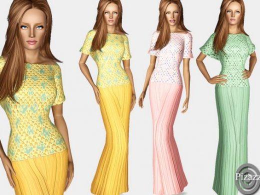 Длинное кружевное платье для Симс 3 скачать