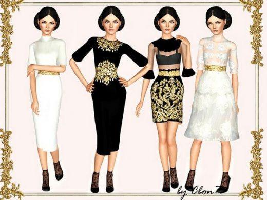 Платья в стиле Барокко для Симс 3