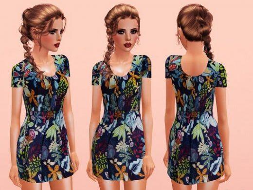 скачать женское чайное платье для Симс 3
