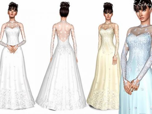 Скачать романтическое свадебное платье для Симс 3