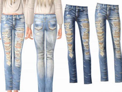 Рваные женские джинсы для Симс 3