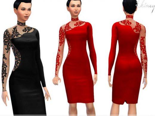 Женское платье с высокой горловиной для Симс 4