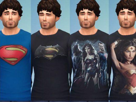 "Мужская футболка ""Мечта супермена"" для Симс 4"
