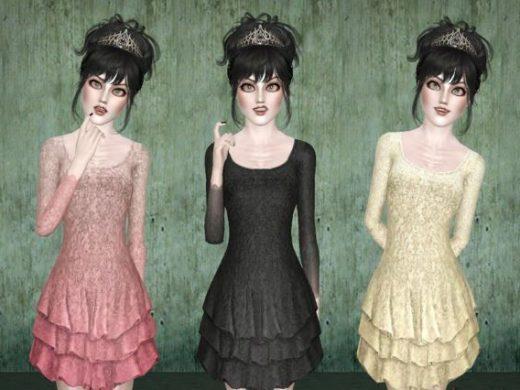 """Женское платье """"Готическая принцесса"""" для Симс 3"""