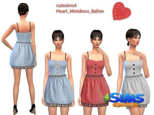 Ballon Heart Minidress Set