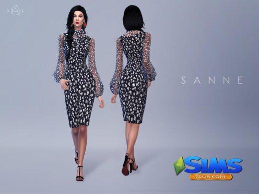 Tie-neck Daisy-print Dress SANNE