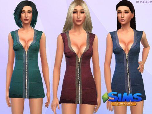 Платье Low Cut Dress для Симс 4