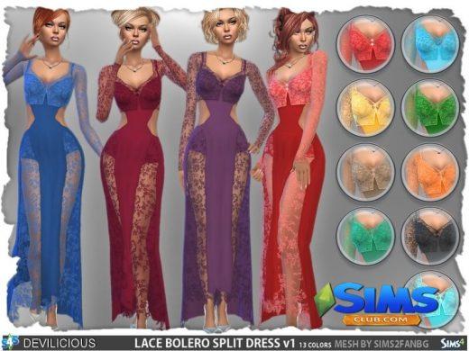 Lace Bolero Split Dress Set