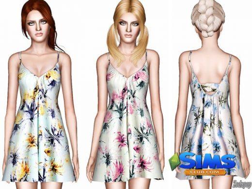 Palm Tree Print Babydoll Dress
