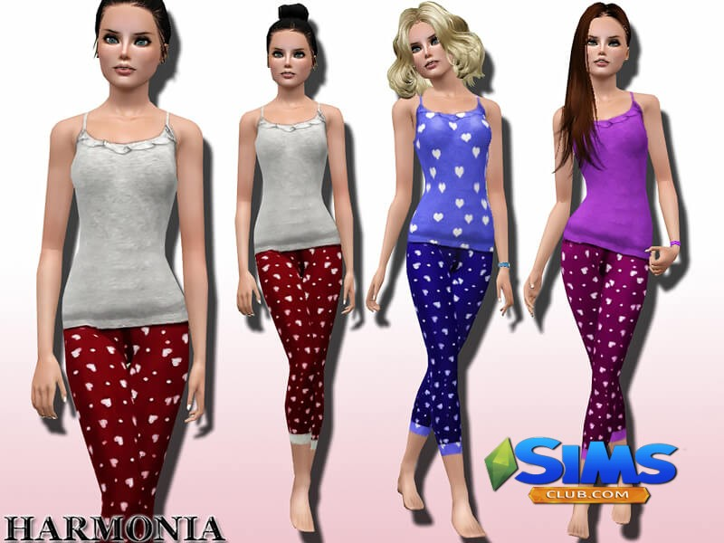 Polka Dot Heart Print Pyjama Set