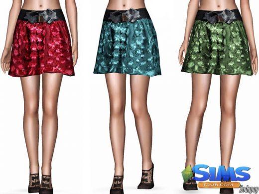 Bow Applique Gauze Skirt