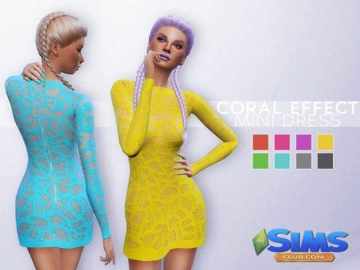 Coral Effect Mini Dress