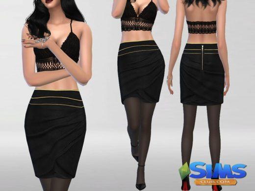 Embellished Fall Skirt Set