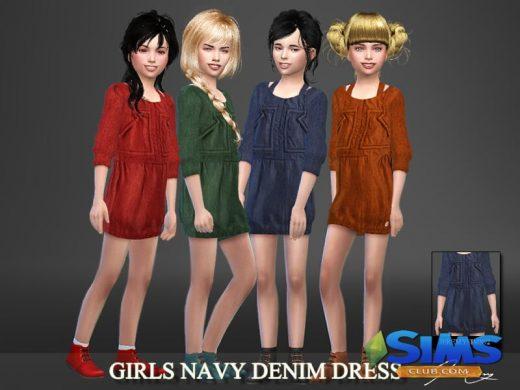 Girls Navy Denim Dress