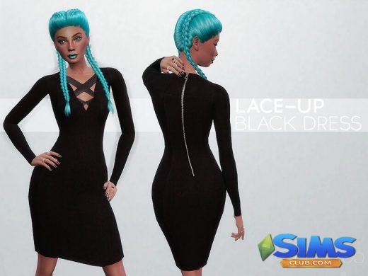 Lace-up Black Dress