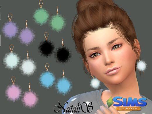 NataliS_Child Fur ball earrings