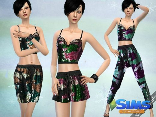 Sequined Camouflage Set