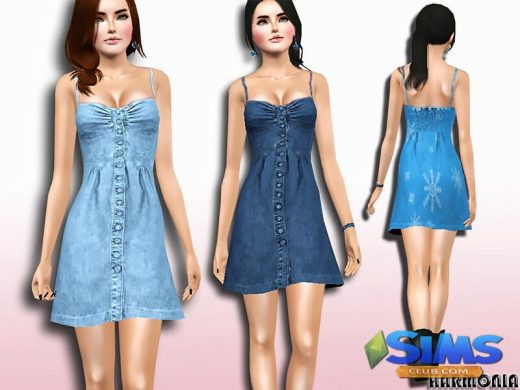 Wash Denim Bustier Dress