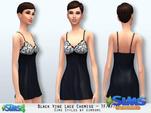 Black Vine Lace Chemise AF