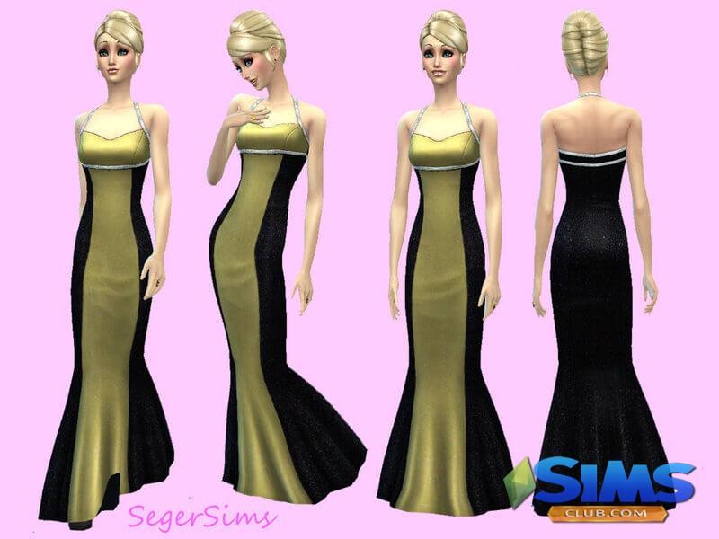 Golden and Black Glitter Dress