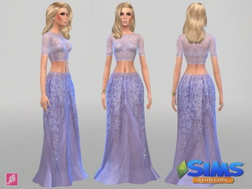 Lilac Glitter Maxi Skirt