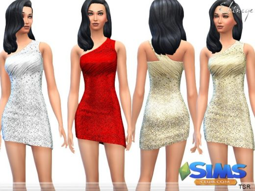 One Shoulder Sequin Dresses - Set1