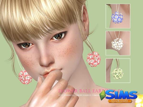 Flower balls earring